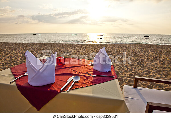 dinner at the beach - csp3329581