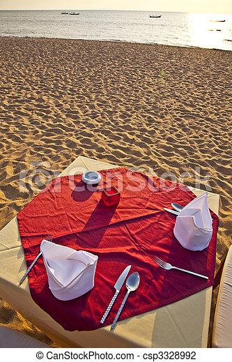dinner at the beach - csp3328992