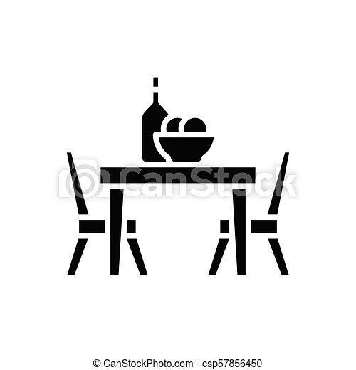 Dinner at the cafe black icon concept. Dinner at the cafe flat  vector symbol, sign, illustration. - csp57856450