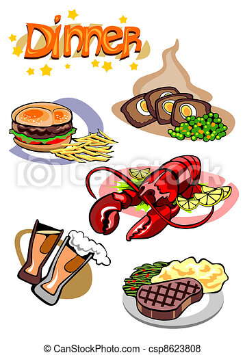 Dinner Menu Pictures With Different Food On It Vector