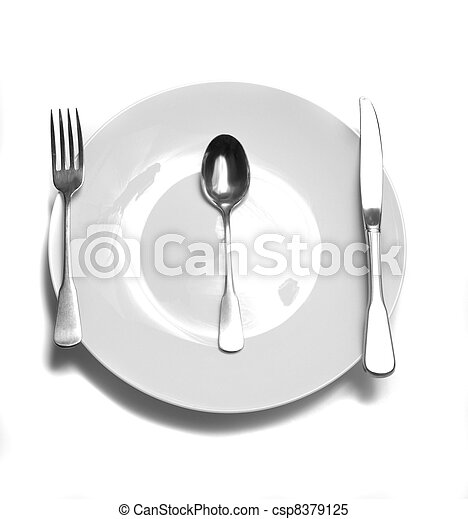 Dinner Place Setting at Table - csp8379125