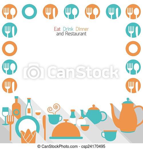 Dinner Restaurant and Eating Frame - csp24170495