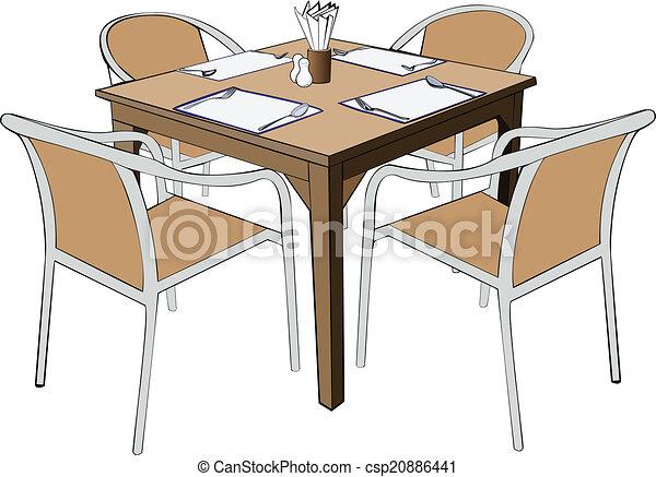 Restaurant dinner table with chair vector illustation eps for Chaise 3d dessin