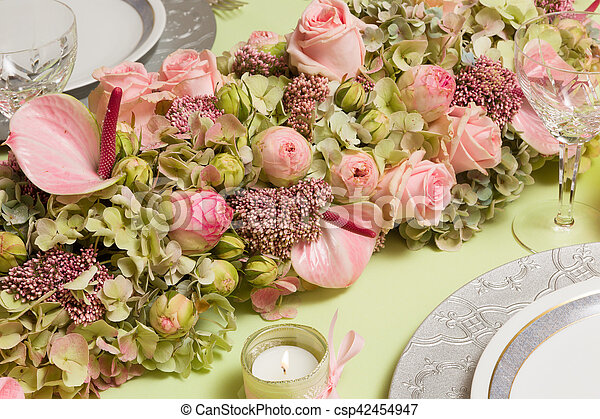 Dinner Table Flower Arrangement Beautiful Twotone Flower Arrangement In Soft Pink And Green On A Christmas Dinner Table