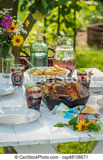 Dinner with potatoes and chicken served in garden - csp48136671