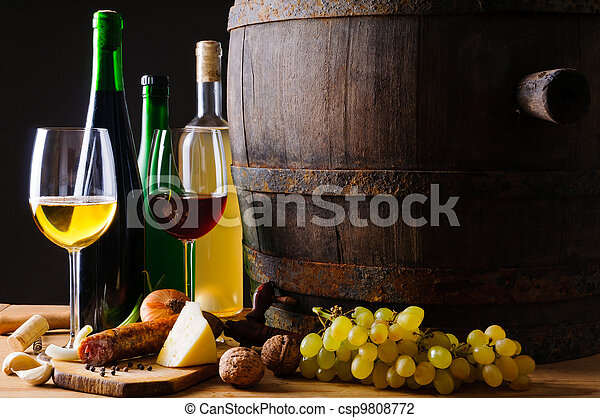 Dinner with wine and traditional food - csp9808772