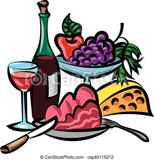 illustration of dinner with wine meat and cheese vector clip art rh canstockphoto com wine and cheese clipart black and white wine and cheese party clipart
