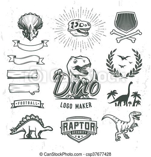 Dino logo maker set. Dinosaur logotype creator. Vector T-rex banner template. Jurassic period laurel crest illustration. Shield insignia concept design. Cretaceous world badge or label collection. - csp37677428