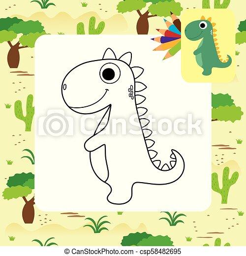 dino, mignon, coloration, dessin animé, livre - csp58482695