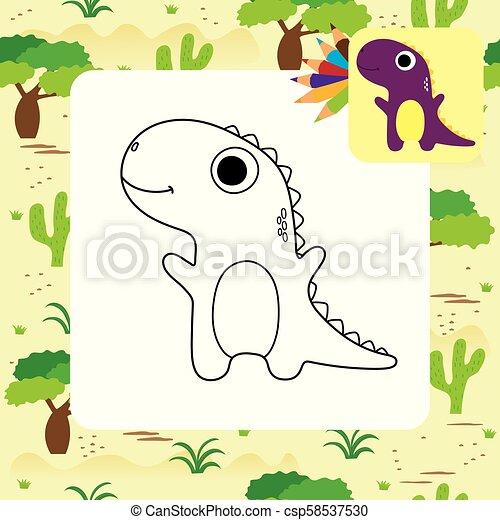 dino, mignon, coloration, dessin animé, livre - csp58537530