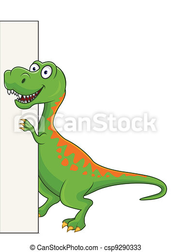Dinosaur and blank sign - csp9290333