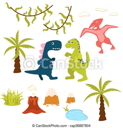 dinosaur and jungle tree clipart set pterodactyl t rex rh canstockphoto com jungle clip art free jungle clip art images