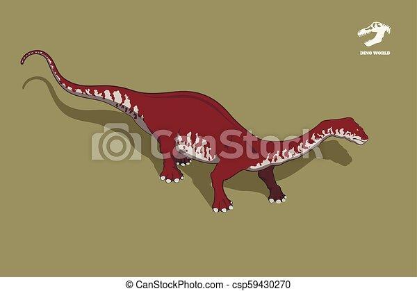 Dinosaur brontosaurus in isometric style. Isolated image of jurassic monster. Cartoon dino 3d icon - csp59430270