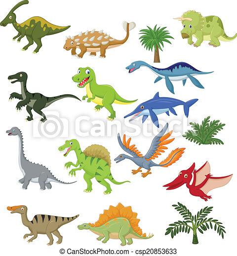 Dinosaur cartoon collection set  - csp20853633