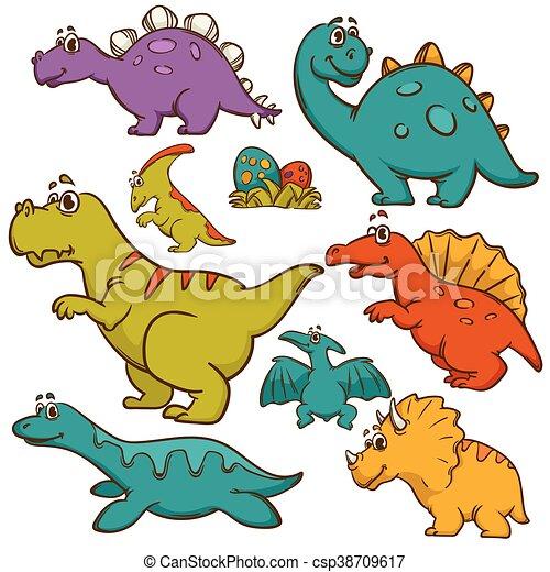 Dinosaur cartoon collection set - csp38709617