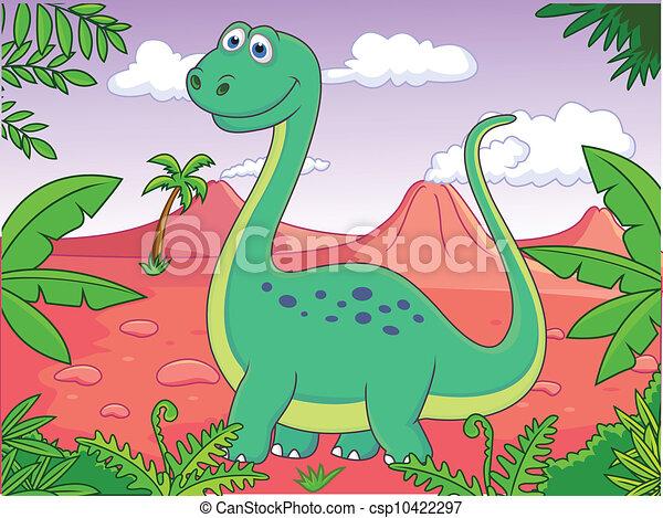 Dinosaur cartoon - csp10422297