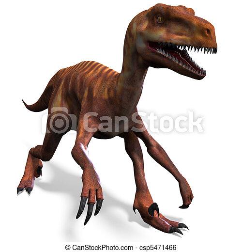 Dinosaur Deinonychus. 3D rendering and shadow over white - csp5471466