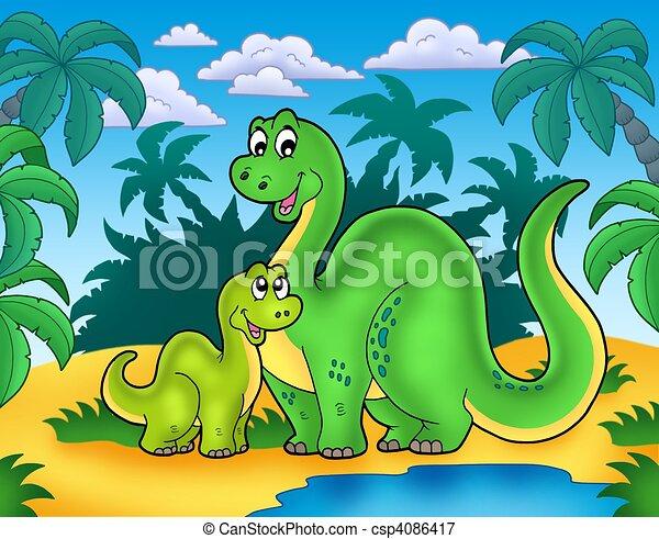 Dinosaur family in landscape - csp4086417
