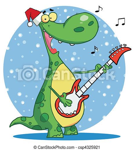Dinosaur Plays Guitar Singing Wearing A Santa Hat And