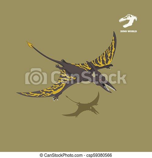Dinosaur pterodactylus in isometric style. Isolated image of jurassic monster. Cartoon dino 3d icon - csp59380566