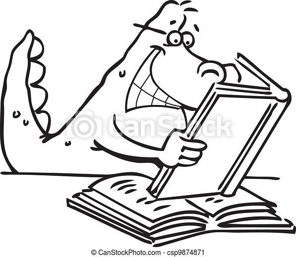 dinosaur reading a book cartoon illustration of a dinosaur reading rh canstockphoto com Dinosaur Printable Book Dinosaur Prints