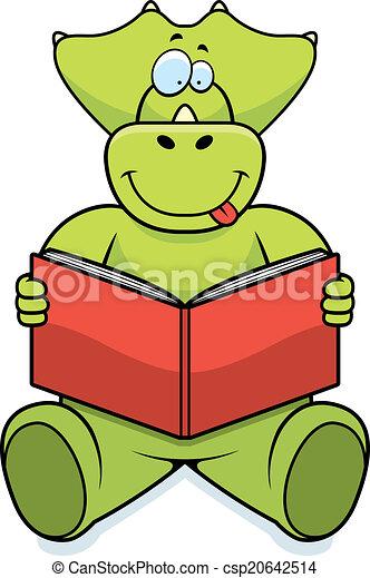 dinosaur reading a cartoon dinosaur reading a book and smiling rh canstockphoto com Dinosaur Printable Book Dinosaur Printable Book