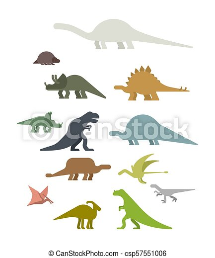 Dinosaur Set. Ancient animal. Diplodocus and Stegosaurus, Pterosaur. Ankylosaurus and triceratops. Styracosaurus and Iguanodon, Apatosaurus. Tyrannosaur and Panoplosaurus. Pterodactyl and Parasaurolophus. Ceratosaurus and Raptor. Dino prehistoric monster. Beast is Jurassic period. Vector illustration. - csp57551006