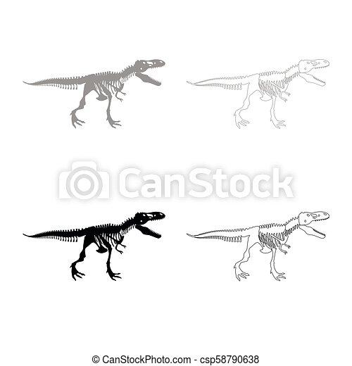 dinosaur skeleton t rex icon outline set grey black color dinosaur