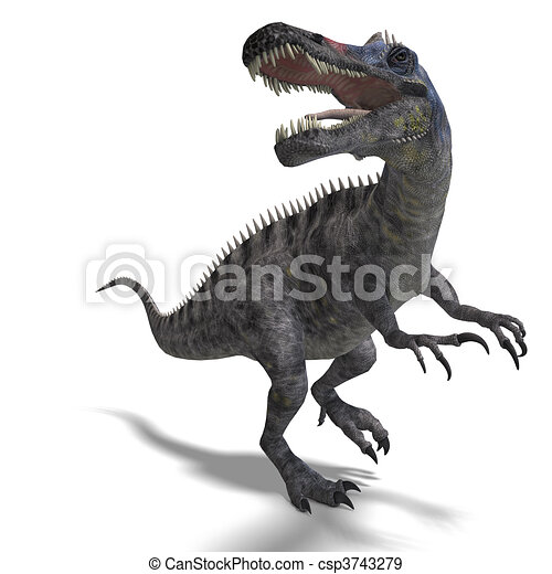 Dinosaur Suchominus. 3D rendering and shadow over white - csp3743279