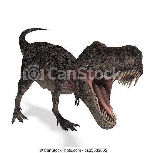 Dinosaur Tarbosaurus. 3D rendering and shadow over white - csp5583865