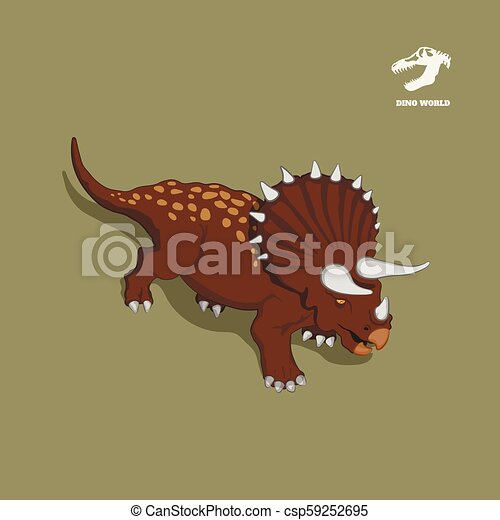 Dinosaur triceratops in isometric style. Isolated image of jurassic monster. Cartoon dino 3d icon - csp59252695