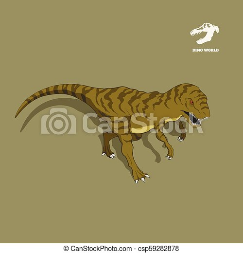 Dinosaur tyrannosaur in isometric style. Isolated image of jurassic monster. Cartoon dino 3d icon - csp59282878