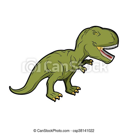 Dinosaur Tyrannosaurus Rex. Prehistoric reptile. Ancient predator. Animal Jurassic with big teeth. Aggressive beast. Terrible, angry lizard Polynesian era. green gigantic monster - csp38141022
