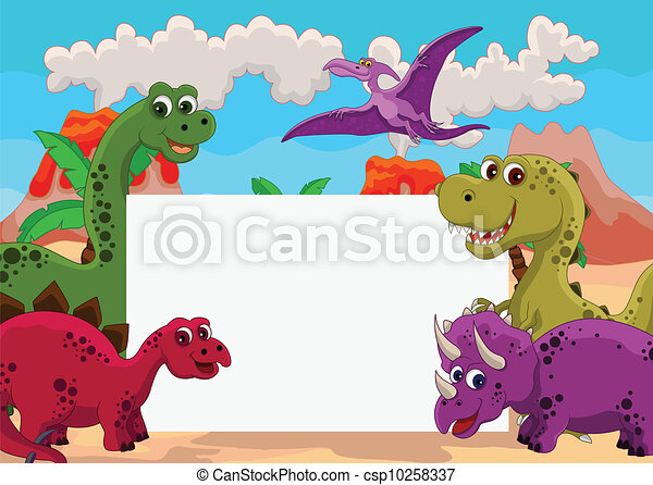 dinosaur with blank sign - csp10258337