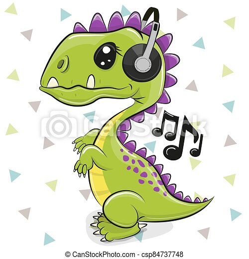 Dinosaur with headphones isolated on a white background - csp84737748