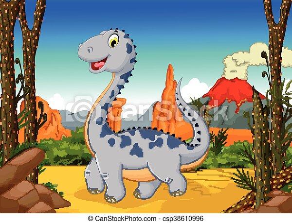 Dinosaure Mignon Dessin Animé Volcan