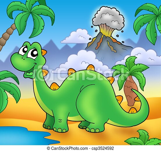 Dinosaure Mignon Vert Volcan Mignon Illustration Couleur