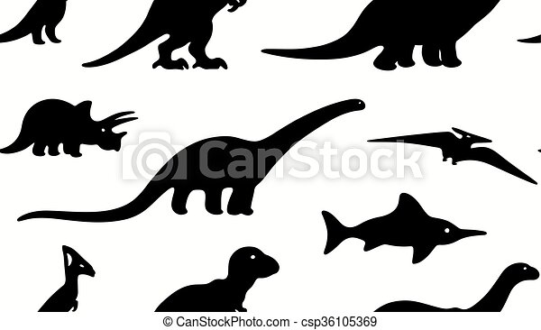 Dinosaures mod le seamless arri re plan silhouettes noir blanc vecteur textile - Modele dessin dinosaure ...