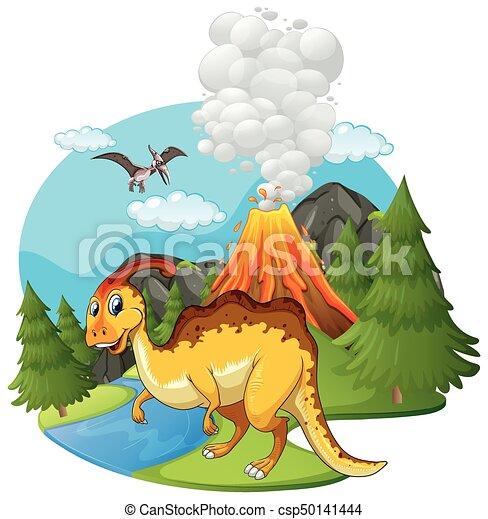 Dinosaures Scène Volcan