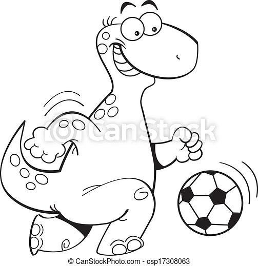 Dinosaurierer Fussball Karikatur Spielende Abbildung