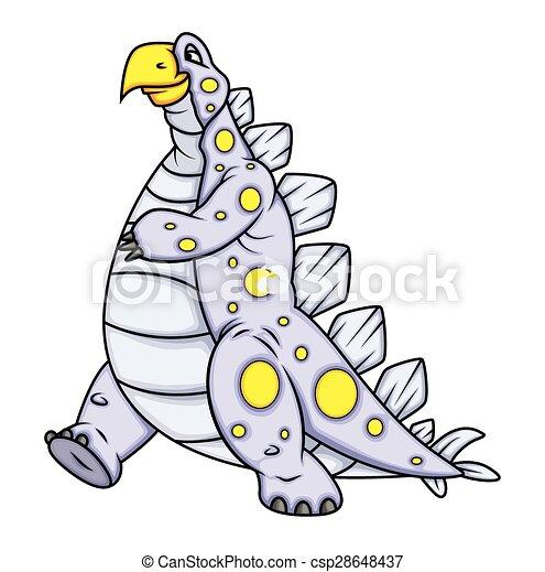Pose de andar: dinosaurio de dibujos animados - csp28648437