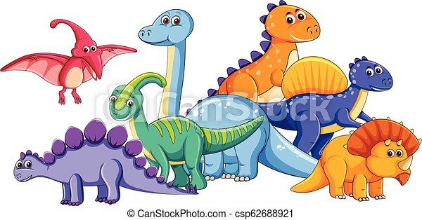 Un Grupo De Dinosaurios Lindos Un Grupo De Ilustraciones De Dinosaurios Canstock Juguete dinosaurio 12 dinosaurios espantacuco fluorescentes. un grupo de dinosaurios lindos un