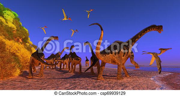 Playa De Dinosaurios De Europasaurio Un Reptil Pterodactilo Vuela Demasiado Cerca De Una Manada De Dinosaurios De Canstock Y la muerte también la biblia menciona una serpiente voladora: can stock photo
