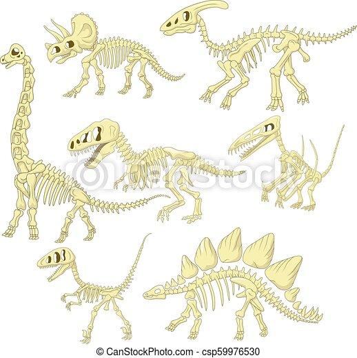 La colección de esqueletos de dinosaurios de dibujos animados - csp59976530
