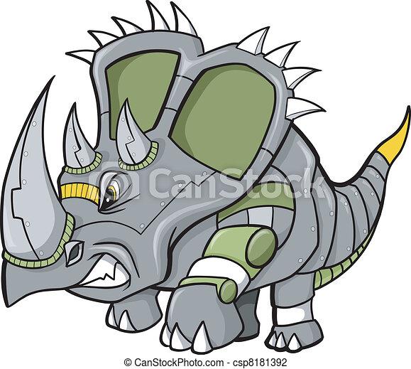 Dinosauro vettore triceratops robot dinosauro cyborg vettore