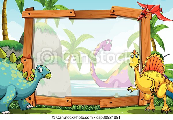 dinosaurs by the wooden frame illustration