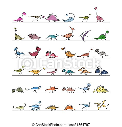 Dinosaurs collection, sketch for your design - csp31864797