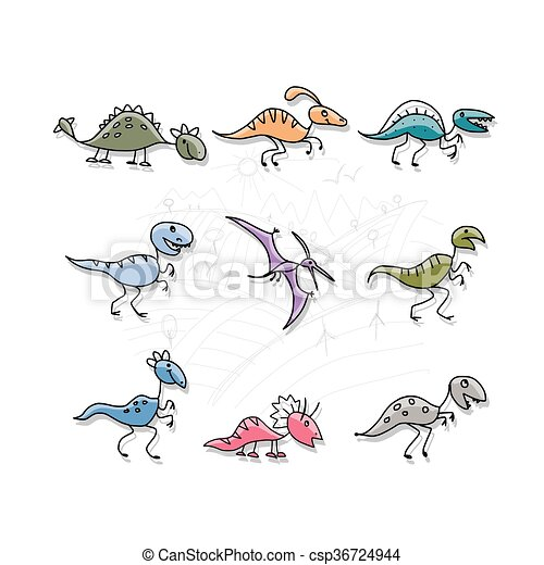 Dinosaurs collection, sketch for your design - csp36724944
