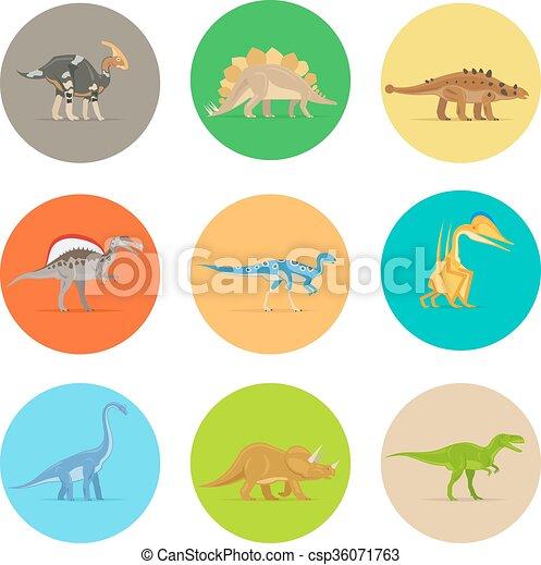 Dinosaurs flat icons - csp36071763
