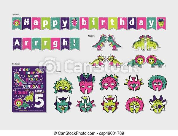 Dinosaurs girl party birthday decor set color vector vector
